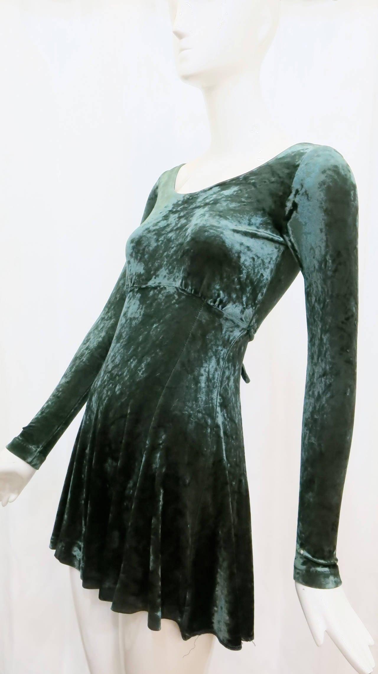 1990s Betsey Johnson Forest Green Crushed Velvet Mini Dress 4