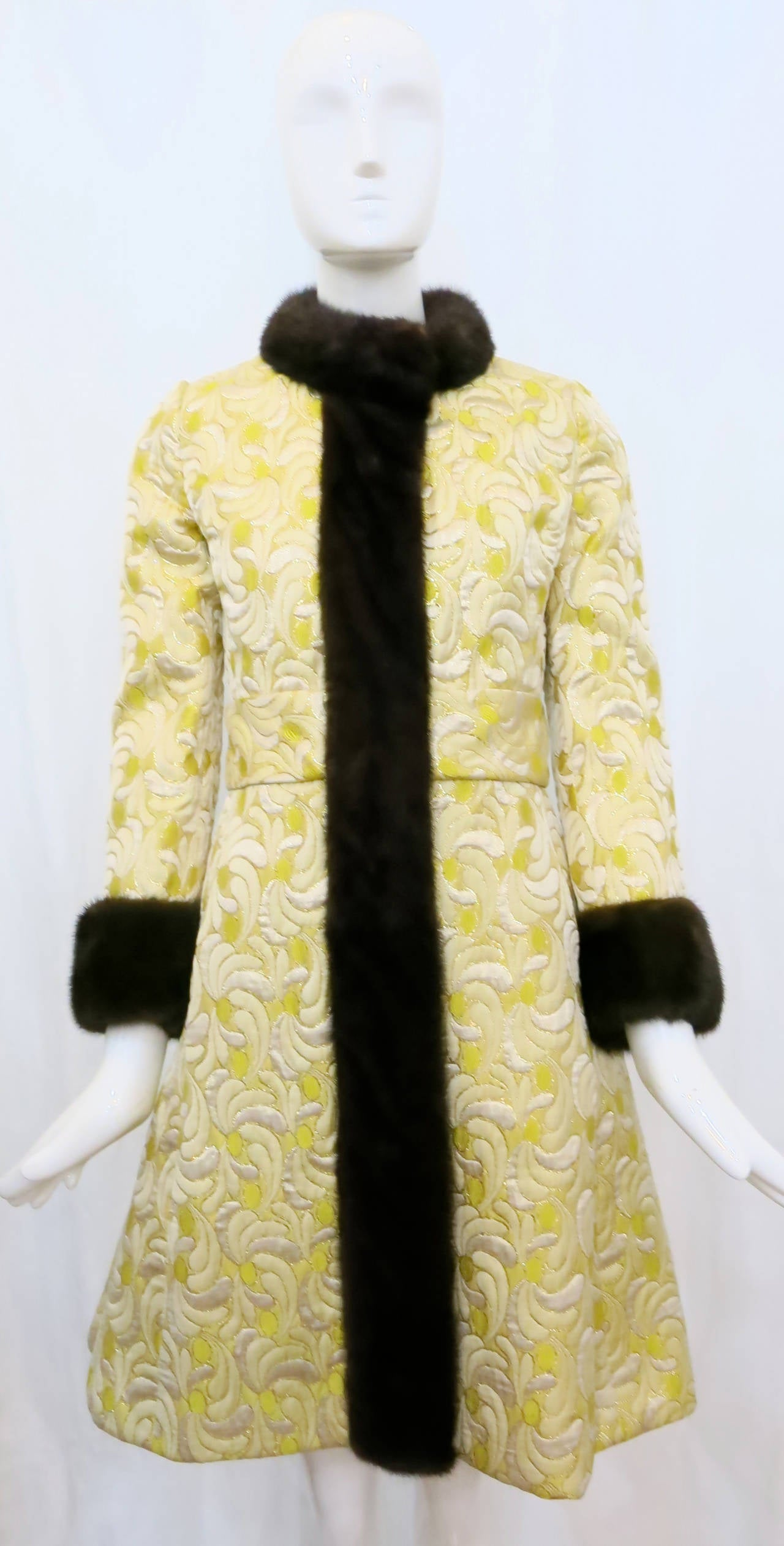 1960s Yellow and Gold Damask Dress and Coat Ensemble with Mink Trim 2