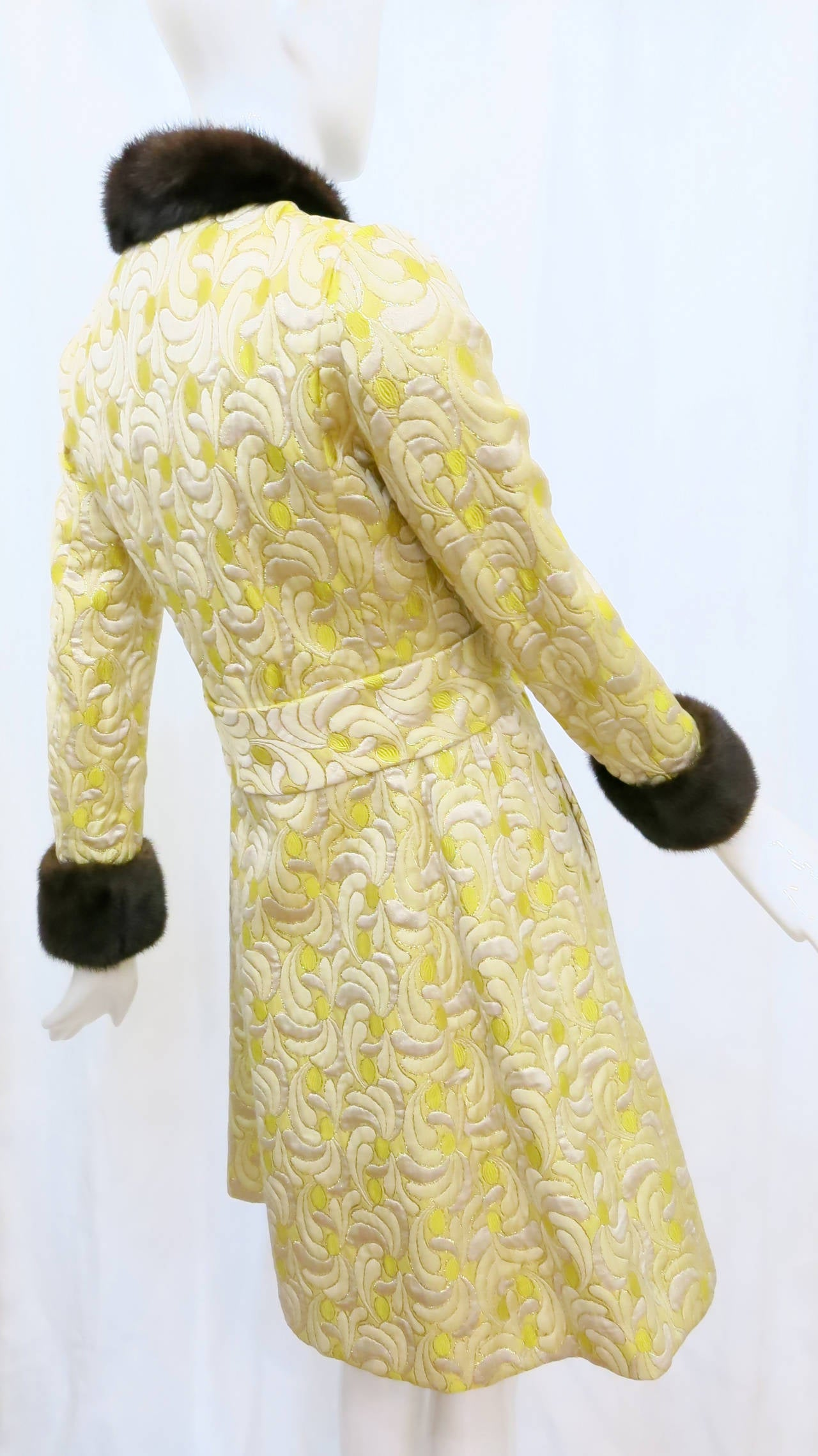 1960s Yellow and Gold Damask Dress and Coat Ensemble with Mink Trim 3