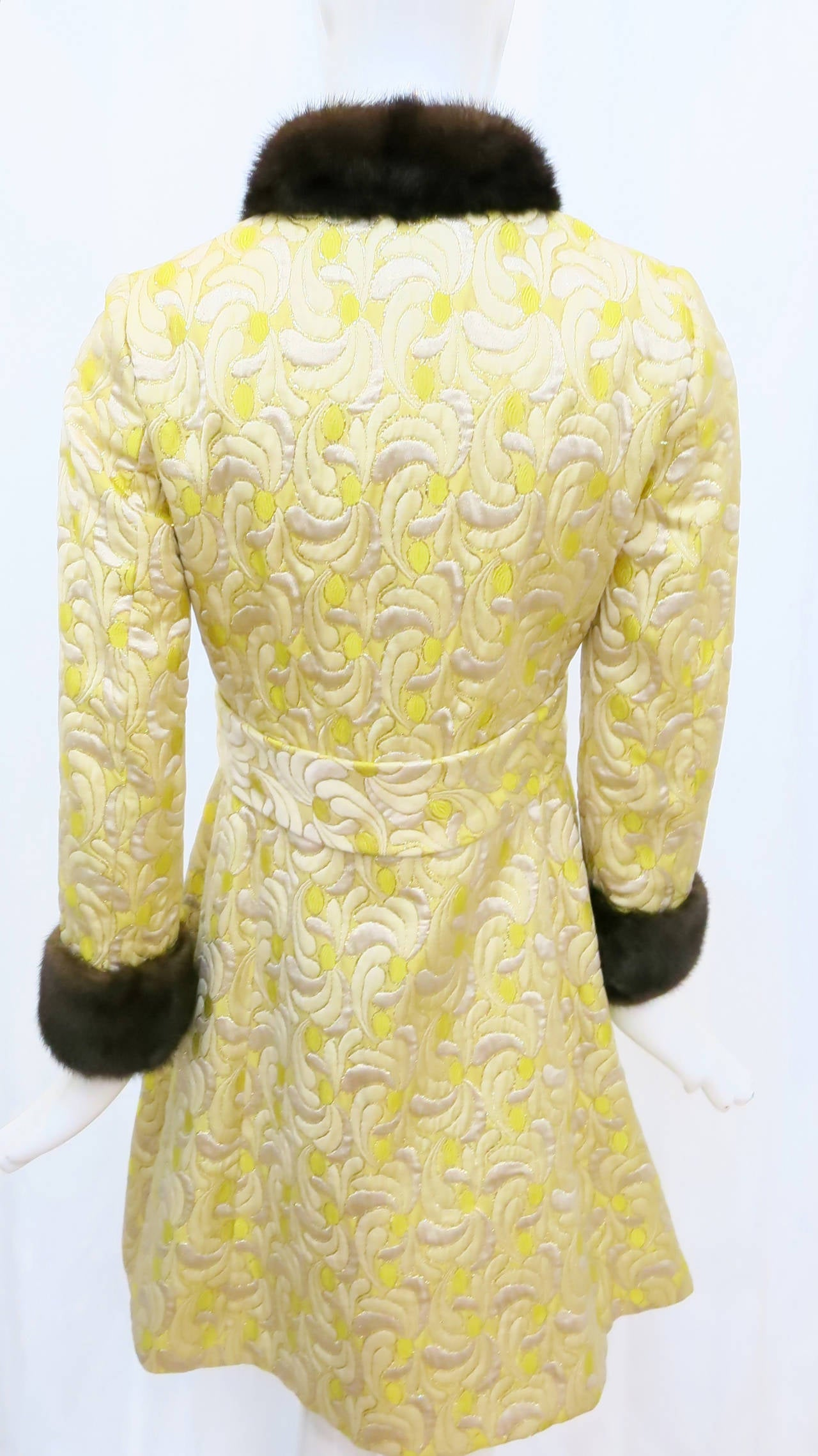 1960s Yellow and Gold Damask Dress and Coat Ensemble with Mink Trim 4