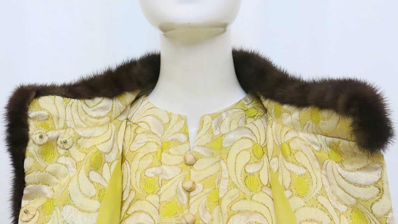 1960s Yellow and Gold Damask Dress and Coat Ensemble with Mink Trim 6
