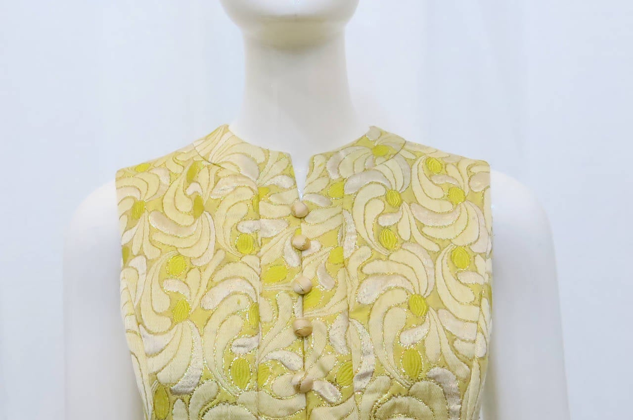 1960s Yellow and Gold Damask Dress and Coat Ensemble with Mink Trim 7