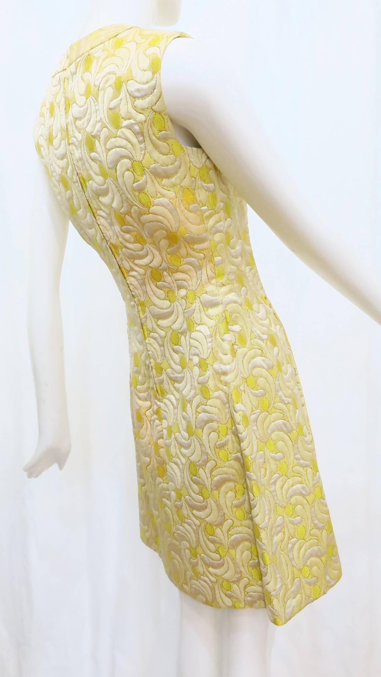 1960s Yellow and Gold Damask Dress and Coat Ensemble with Mink Trim 9