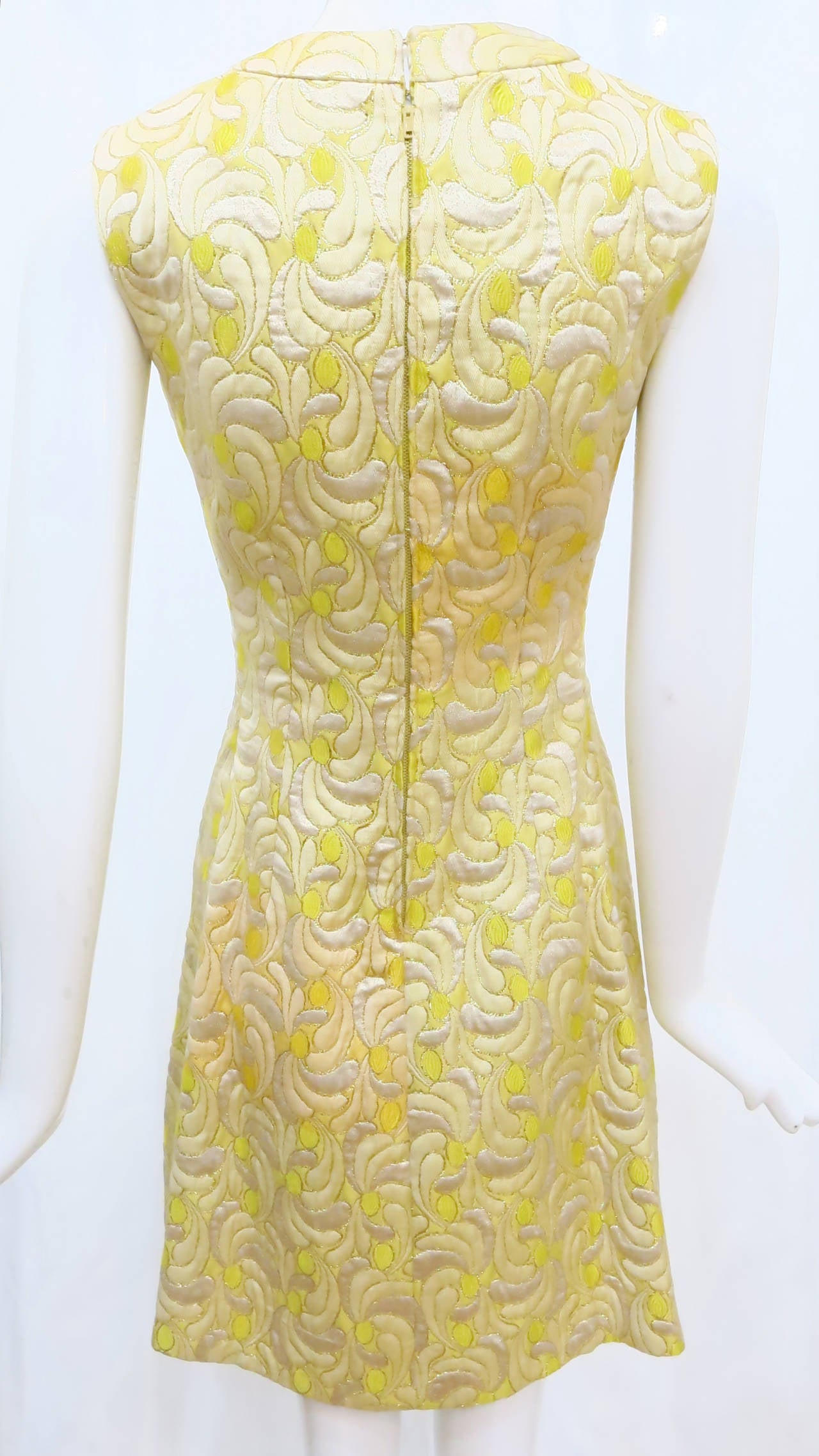 1960s Yellow and Gold Damask Dress and Coat Ensemble with Mink Trim 10
