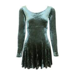1990s Betsey Johnson Forest Green Crushed Velvet Mini Dress