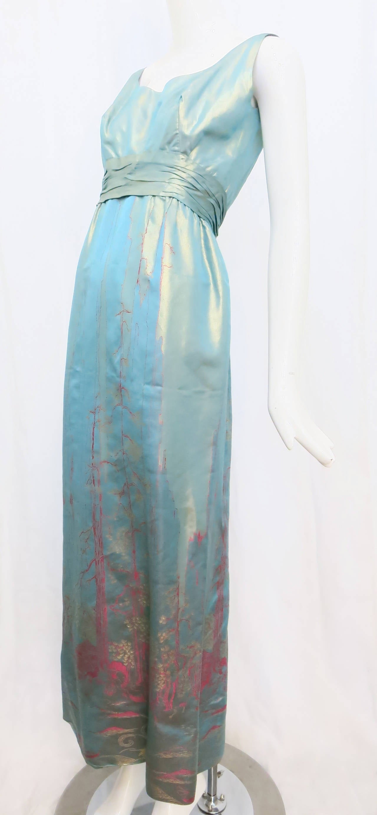 Women's 1950s Aqua Iridescent Silk Column Gown with Hot Pink Orient Motif For Sale