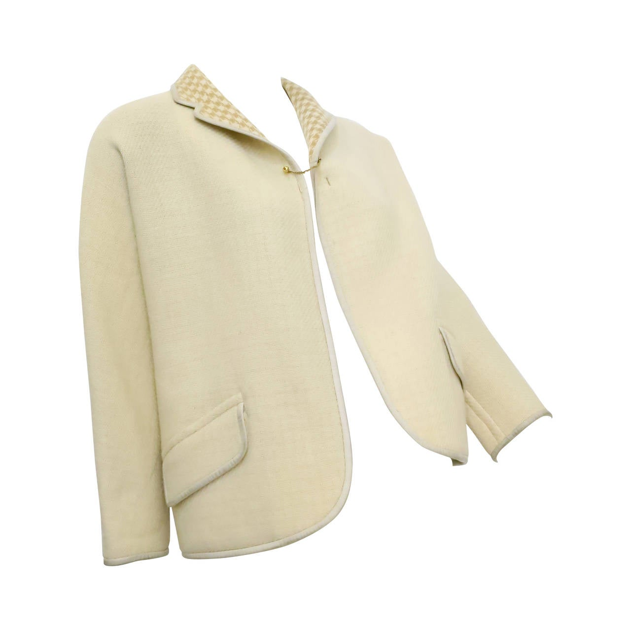 1960s Bonnie Cashin Cream and Houndstooth Wool Jacket with Gold Chain Closure