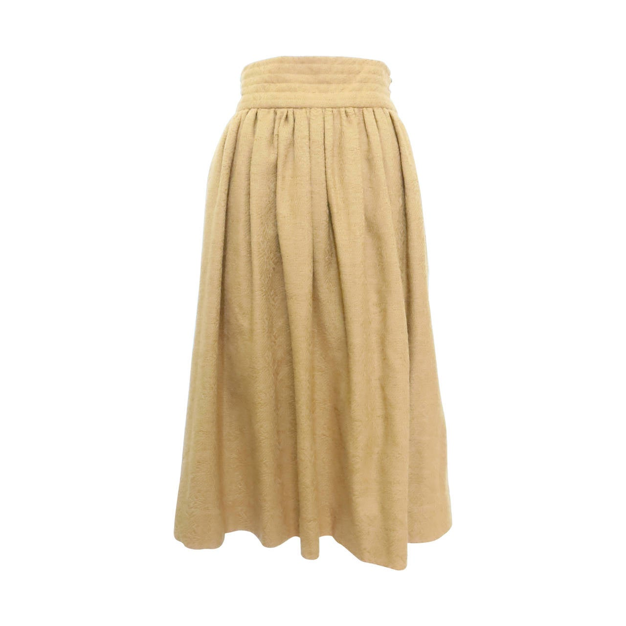 1980s Valentino Camel Maxi Skirt with Banded Waist