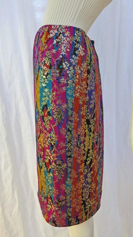 1970's Lanvin Multicolored Metallic Silk Pencil Skirt 2