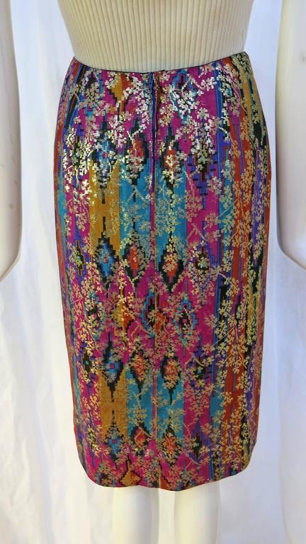 1970's Lanvin Multicolored Metallic Silk Pencil Skirt 3