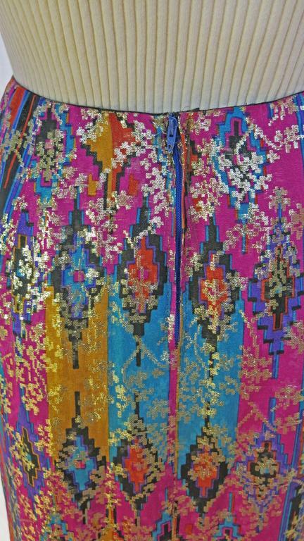 1970's Lanvin Multicolored Metallic Silk Pencil Skirt 4