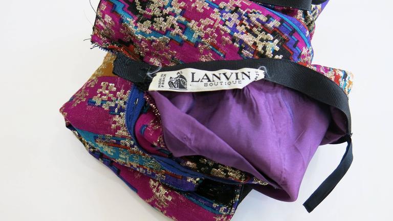 1970's Lanvin Multicolored Metallic Silk Pencil Skirt 6