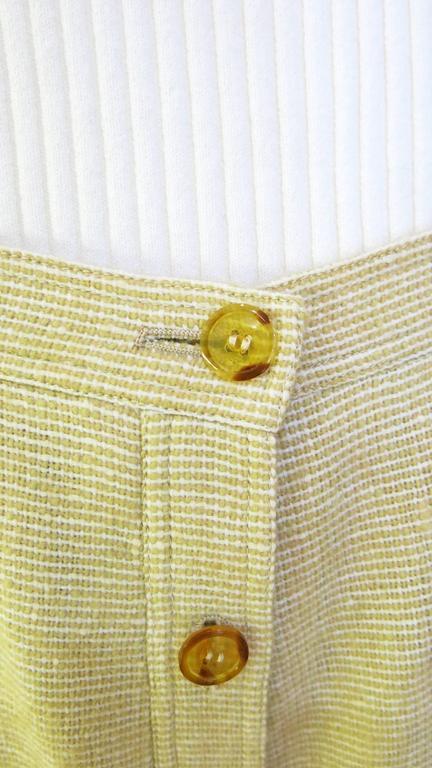 1960s Courreges Paris Beige Button Down Skirt 4