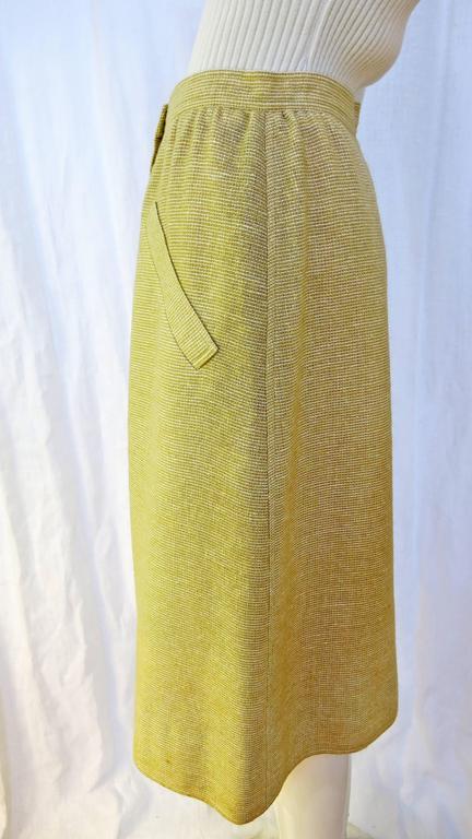 1960s Courreges Paris Beige Button Down Skirt 2