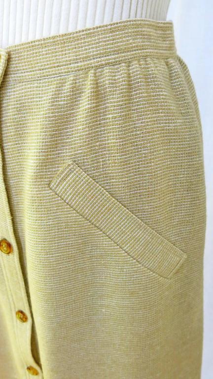 1960s Courreges Paris Beige Button Down Skirt 6