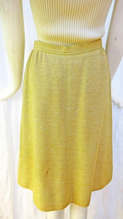 1960s Courreges Paris Beige Button Down Skirt 3