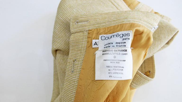 1960s Courreges Paris Beige Button Down Skirt 7