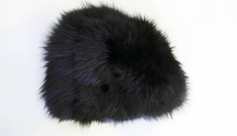 1970's Saks Fifth Avenue Black Fox Fur Hat  4
