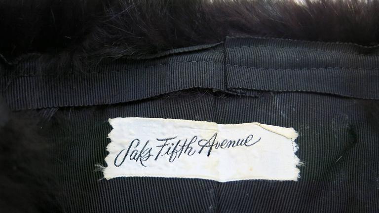 1970's Saks Fifth Avenue Black Fox Fur Hat  8