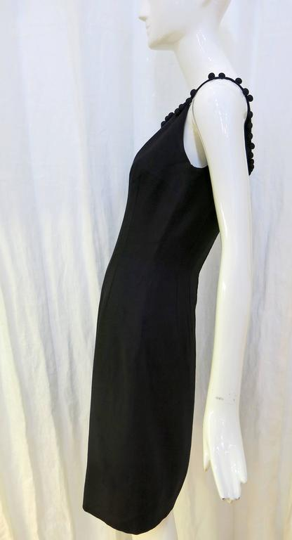 1950s Anne Fogarty Black Linen Fitted Cocktail Dress With