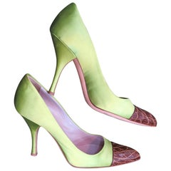 Prada Green Satin Alligator Toe Pumps Size 37.5