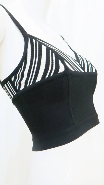 1980s Herve Leger Black and White Crop Top 5