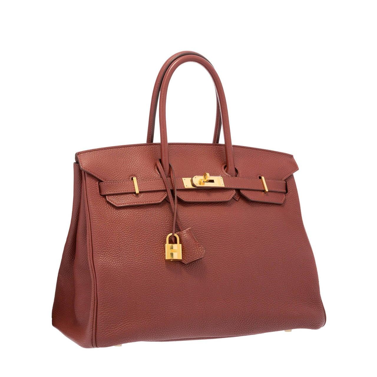 Hermes 35cm Sienne Togo Leather Birkin Bag with Gold Hardware at ...