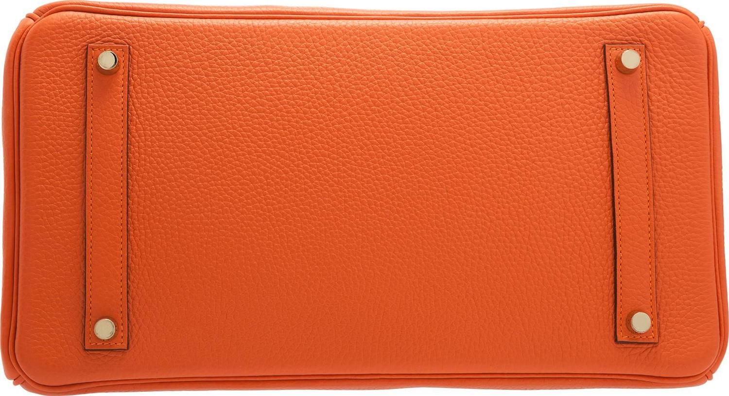hermes leather bag - hermes 35cm orange feu clemence birkin bag with gold hardware