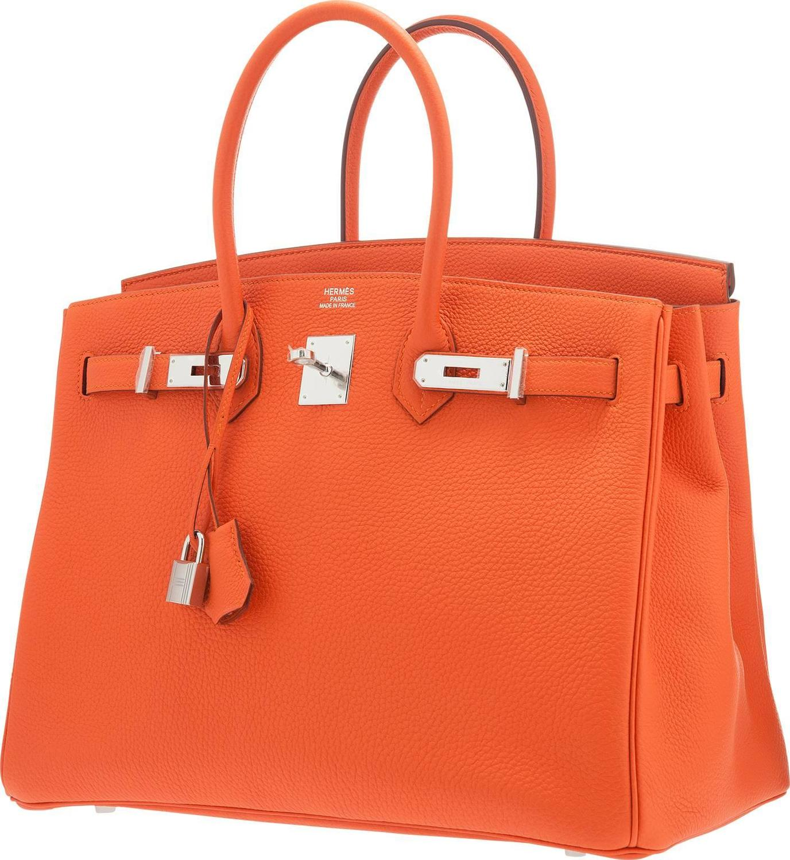 replica hermes bag - hermes 35cm poppy orange clemence leather kelly bag with palladium ...