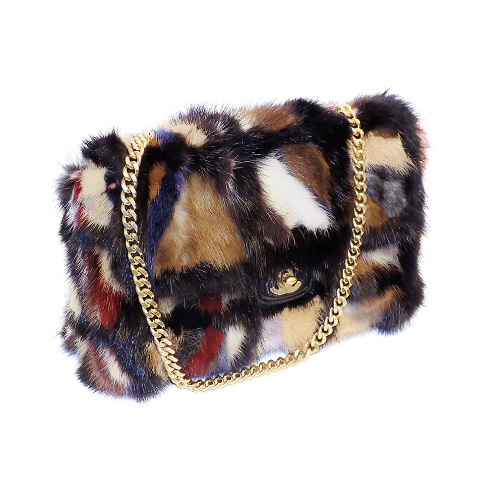 Chanel Arm Candy! Multi color Mink Fur  bag New in Box Coll 2001 1