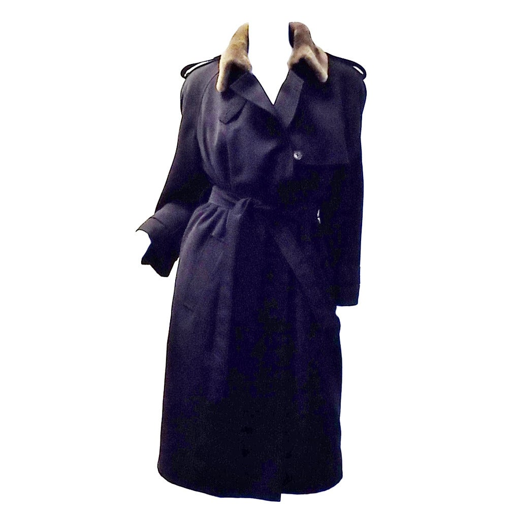 J Mendel Navy trench coat with Luxurios sheared mink lining ...
