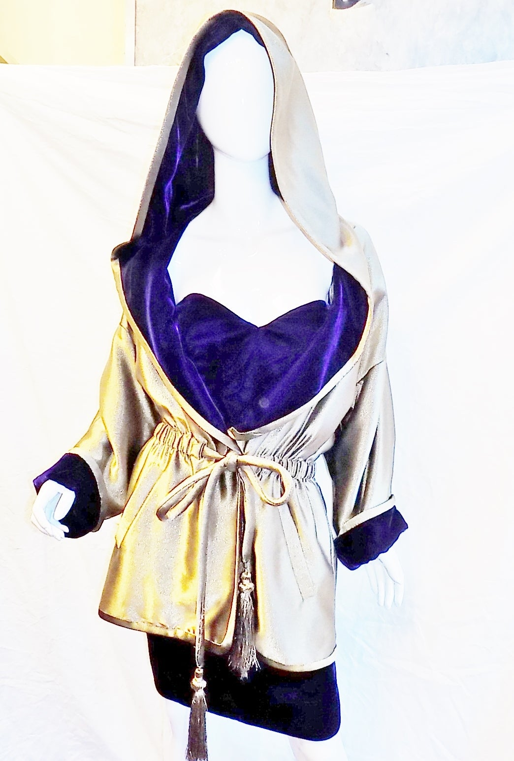 First Dibs Home Decor Anne Klein Late 70 S Royal Purple Dress And Metallic Gold