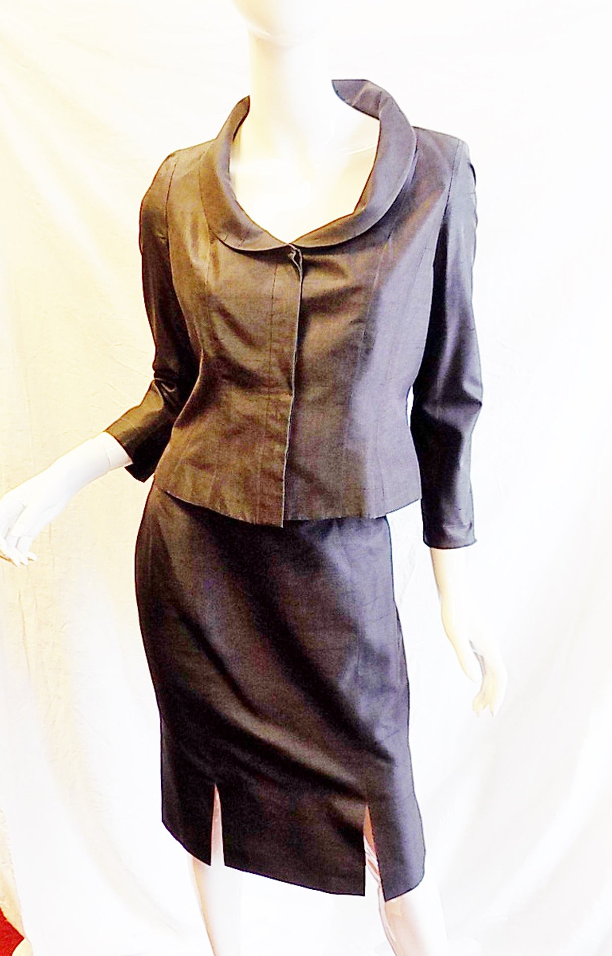 First Dibs Home Decor Thierry Mugler Couture Vintage Black Silk Skirt Suit At
