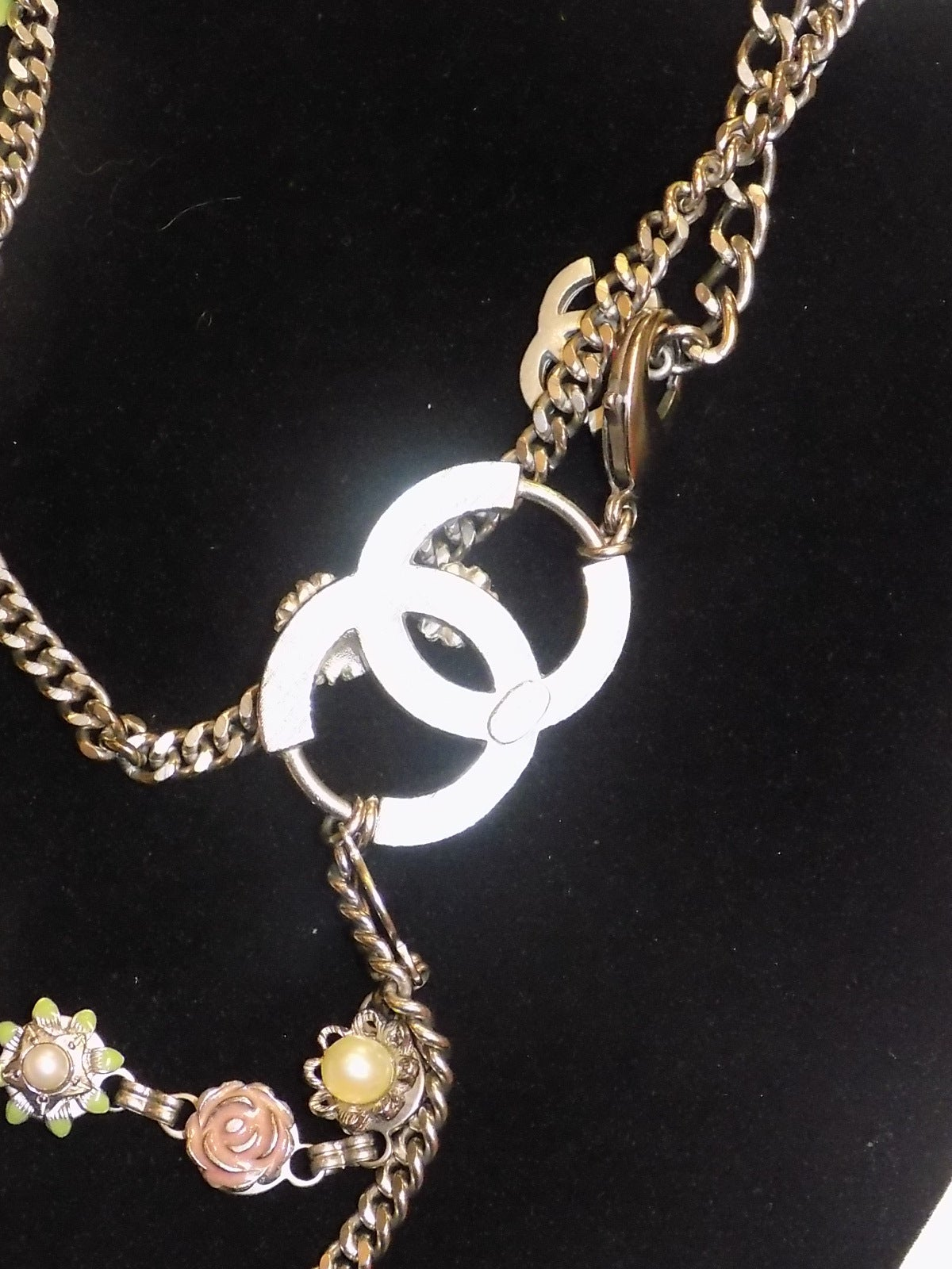 First Dibs Home Decor Chanel Chain Belt With Flower Crystal Enamel Pearl