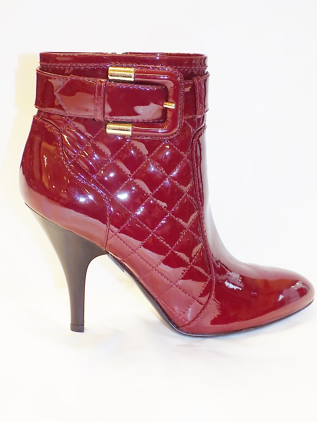 New Burberry Burgundy Red Patent Leather Ankle Boots At
