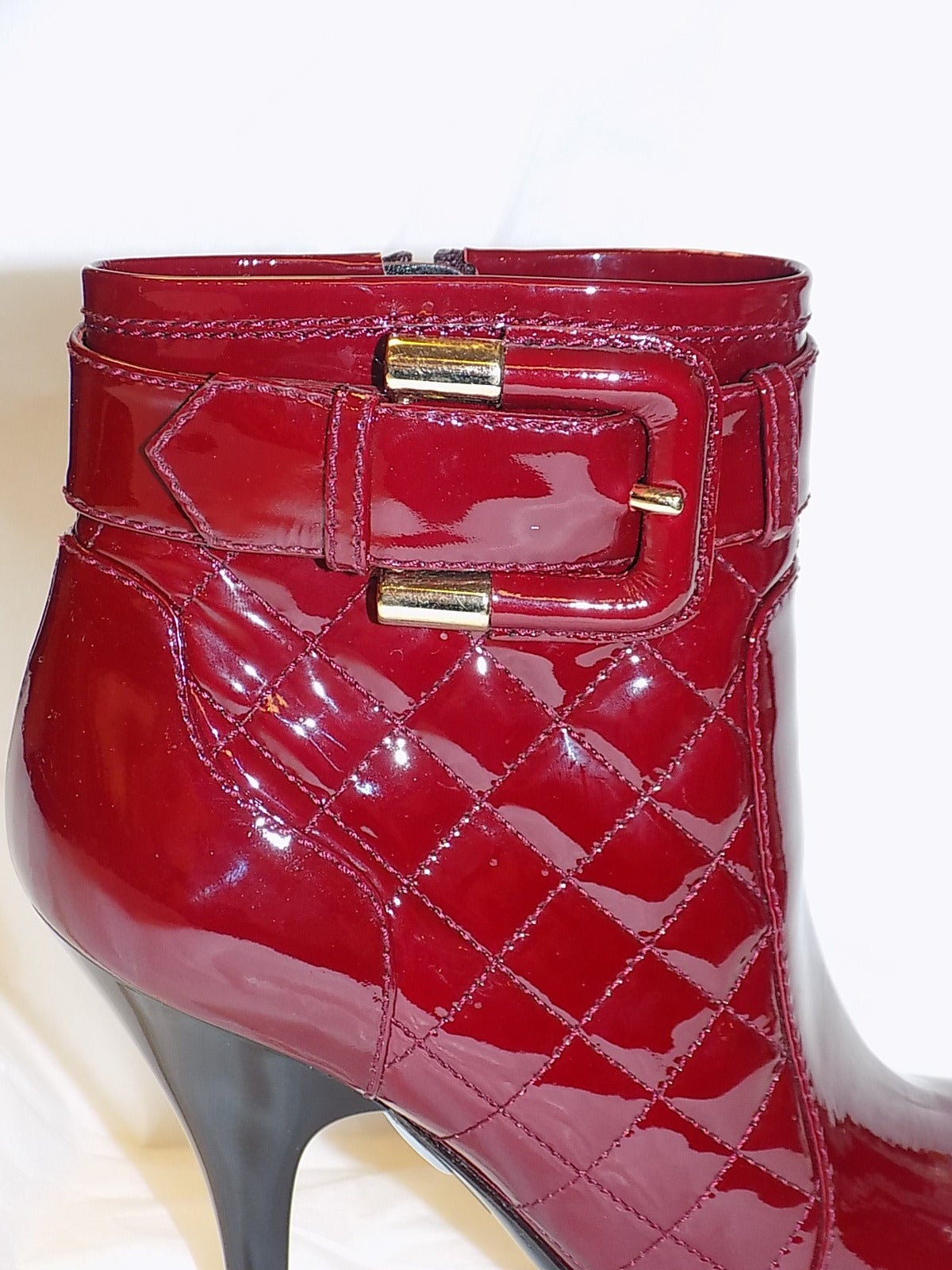 New  Burberry Burgundy Red  Patent leather Ankle boots 4