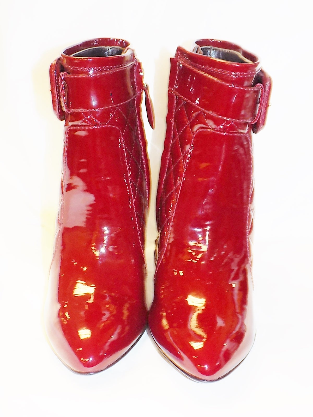 New  Burberry Burgundy Red  Patent leather Ankle boots 3