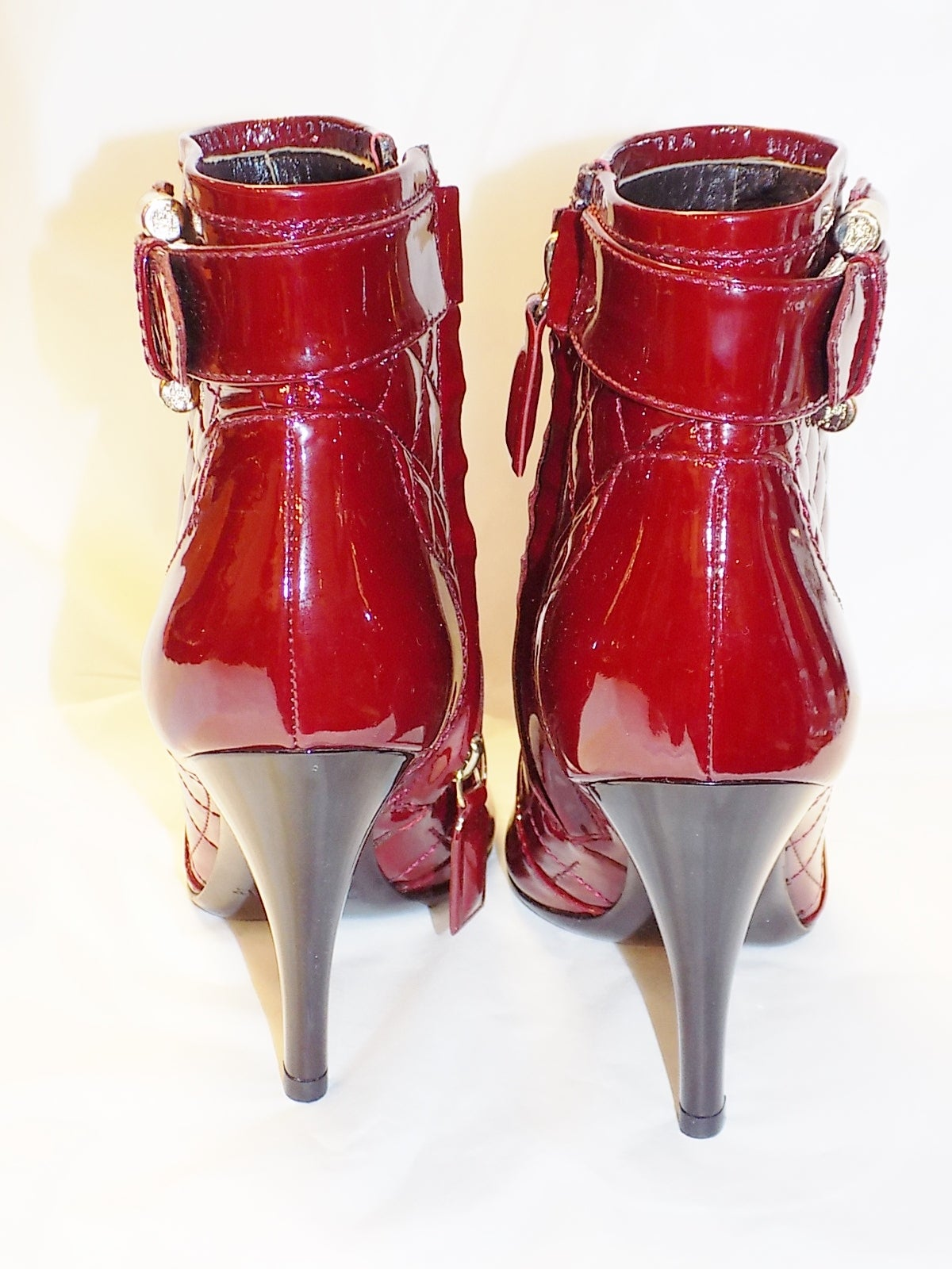 New  Burberry Burgundy Red  Patent leather Ankle boots 6