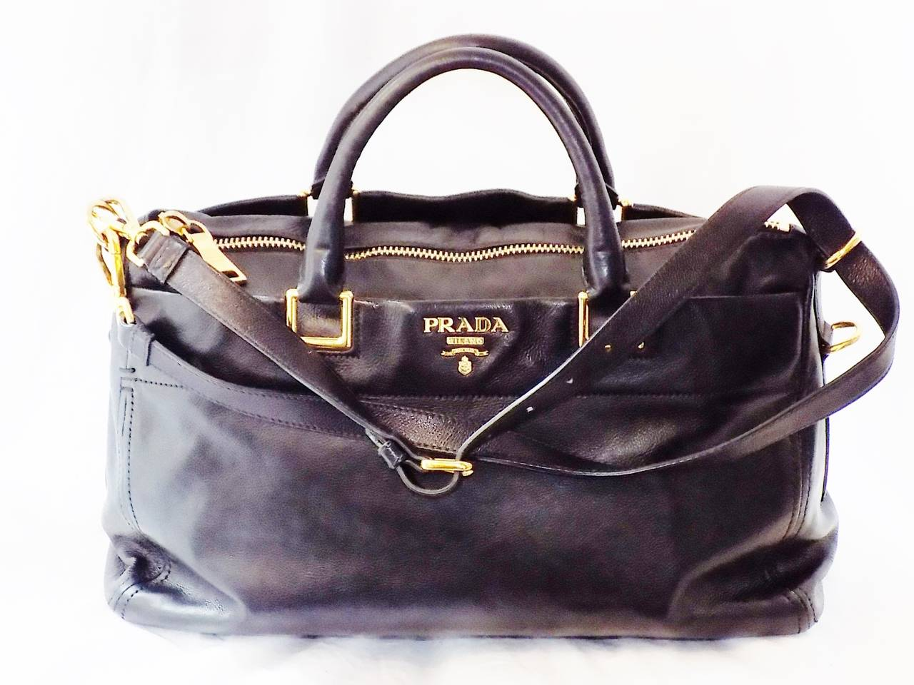 PRADA Executive Black soft leather Tote Bag at 1stdibs