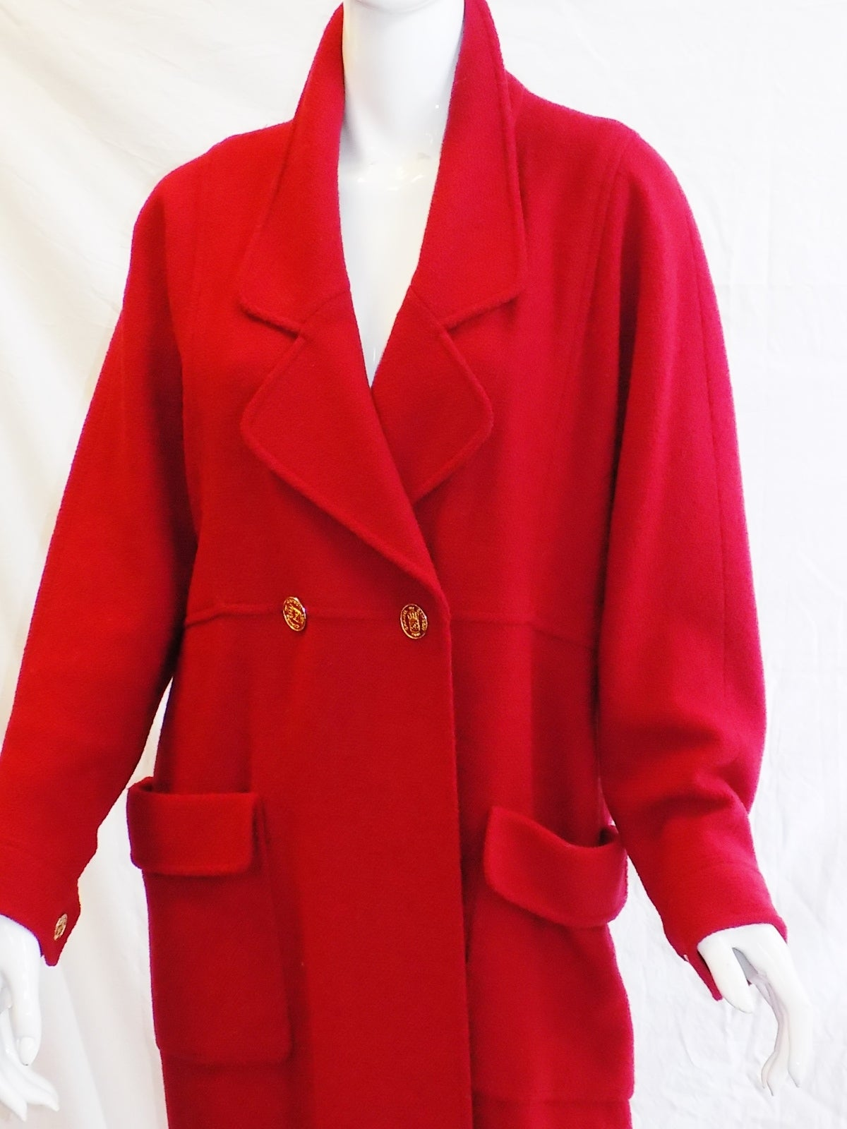 Chanel Vintage Red Coat with large logo buttons at 1stdibs