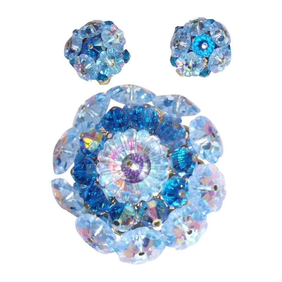 Vandome Vintage  Ocean blue crystal mobile parts pin and earrings set 1