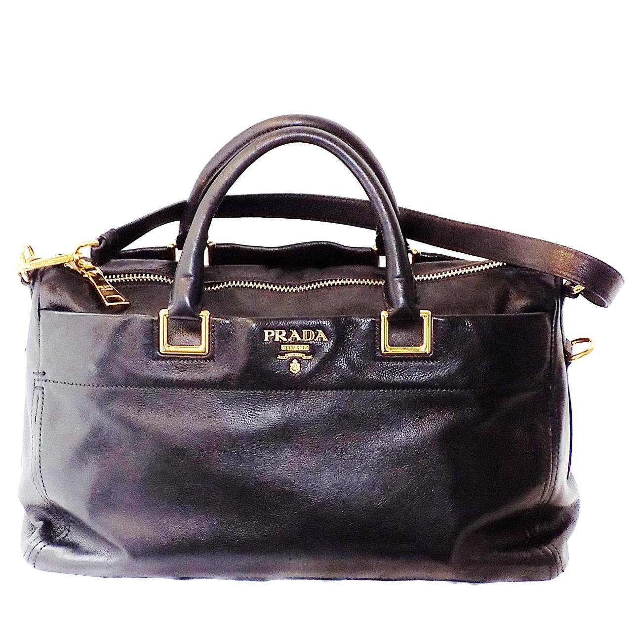 PRADA Executive Black soft leather Tote Bag at 1stdibs