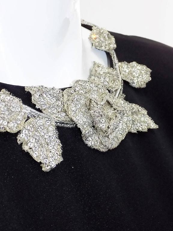 Chanel Vintage Haute Couture Black Cocktail dress w silver Lesage Cammelia  trim For Sale 2