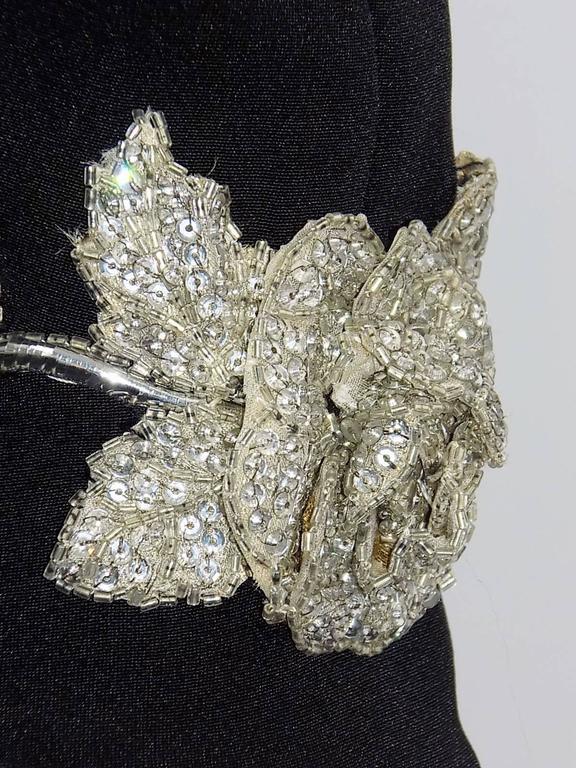 Chanel Vintage Haute Couture Black Cocktail dress w silver Lesage Cammelia  trim For Sale 1