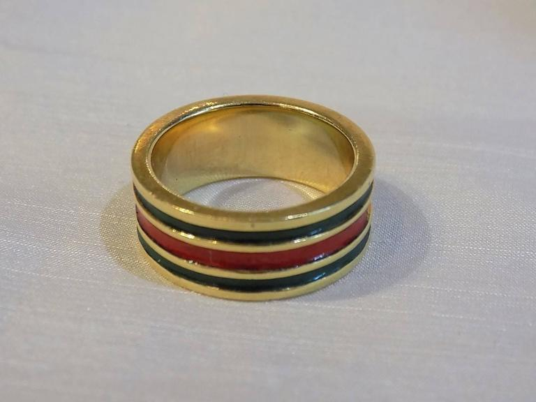 Beautiful Gucci Vintage red and green Enamel Gold Band Ring Circa For Sale  AA65