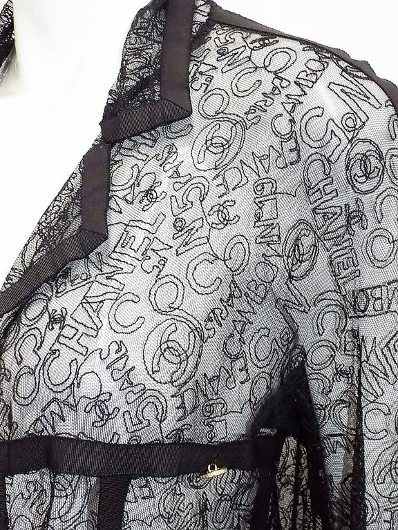 VERY RARE CHANEL embroidered logo lace jacket  3