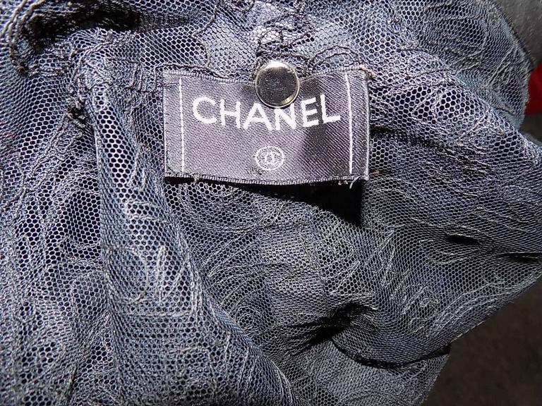 VERY RARE CHANEL embroidered logo lace jacket  6