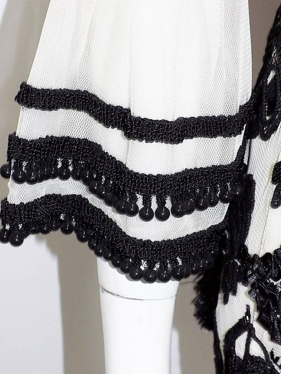 Anna Sui vintage embroidred black and white tunic top blouse  6