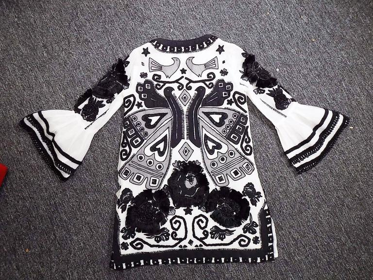 Anna Sui vintage embroidred black and white tunic top blouse  7