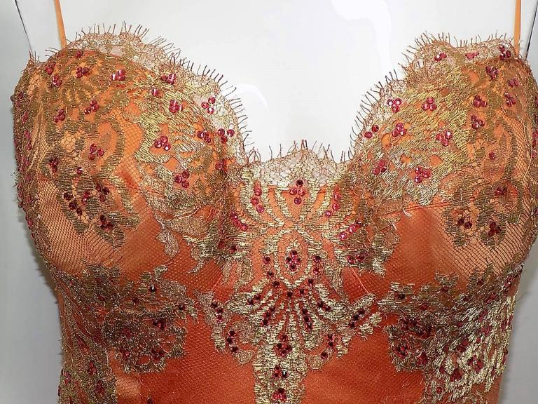 Baracci haute couture corset lace cocktail dress with crystals  In Excellent Condition For Sale In New York, NY